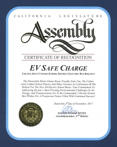 EV Safe Charge - Certificate of Recognition